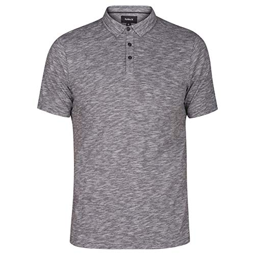 (Hurley Men's Mini Striped Slub Textured Short Sleeve Polo, Black/White,)