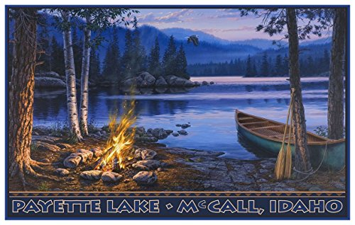 Payette Lake McCall Idaho Lake Canoe Fire Travel Art Print Poster by Darrell Bush (12