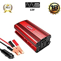 LIDER.-800W1600W Inversor de Corriente Onda sinusoidal modificada, Transformador de DC12V a AC220V, con Puerto USB.Pantalla LCD, Nuevo Modelo controlado por Micro procesador