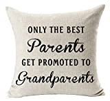 Best Gifts For Mom Dad Only The Best Parents Get Promoted To Grandparents Blessing Cotton Linen Throw Pillow Case Cushion Cover Home Office Decorative Square 18 X 18 Inches