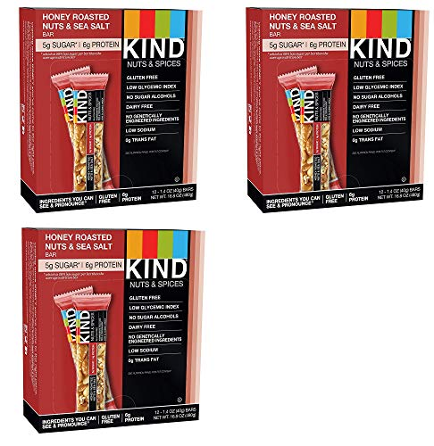 KIND Bars, Honey Roasted Nuts and Sea Salt, Gluten Free, Low Sugar, 1.4oz, 36 Bars KIND-At by KIND (Image #1)