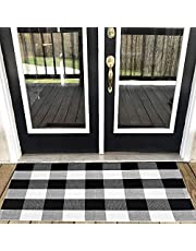 """Xuanmuque Black White Buffalo Plaid Rug Cotton Checkered Doormat Plaid Area Rug Entry Way Porch Mat Washable for Kitchen Bathroom Bedroom, 23.6""""x35.4"""""""