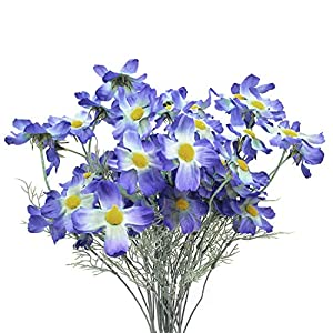 cn-Knight 6pcs Artificial Coreopsis Silk Calliopsis Chrysanthemum Daisy Galsang Flower for Wedding Bridal Bouquet Bridesmaid Groomsman Home Décor Office Baby Shower Party Centerpieces 14
