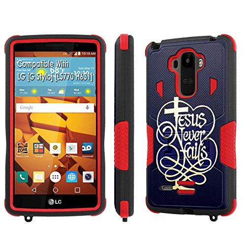 LG [G Stylo] Tough Case [SlickCandy] [Black/Red] Hybrid Combat [Kick Stand] [Shock Proof] Phone Case - [Jesus Never Fail] for LG [G Stylo] [LS770 H631] -  P-LGLS770-1E1-BKRD-VRI-P075C