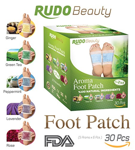 Rudo Beauty Foot Pads: Aromatherapy | Pain Relief | FDA Certified 30 Pack Improved 2in1 Foot and Body Patches | Remove Toxins Aromatherapy Patches