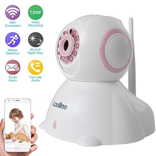 Pet Camera Looline Pan Tilt Zoom Audio Recording Remote Surveillance Dome IP Camera 2 Way Audio Wireless Security Baby Monitor P2P Night Vision (pink)