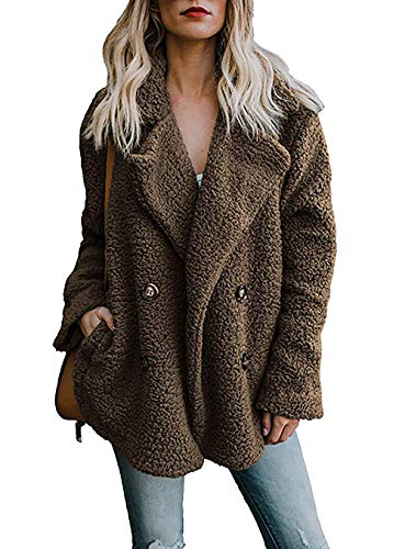 PRETTYGARDEN Women's Warm Long Sleeve Lapel Open Front Button Draped Fleece Coat Fluffy Outwear with Pockets (Button Fur Jacket Front)