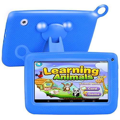 Upgrade Tufen Best Tablet for Kids, 7'' HD Multitouch Display with Kid-proof Silicone Case (Quad Core, 8GB, Wifi & bluetooth, Front & Rear Camera,Google Android 4.4, IWAWA) (Q758 Blue)