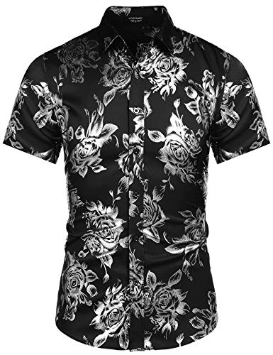 COOFANDY Men's Fashion Floral Designer Flower Print Prom Disco Nightclub Shirt ()