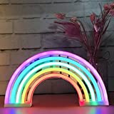 AES US Neon Signs,Rainbow Neon Light Sign Shaped Night Light Wall Decor for Chistmas,Birthday party,Kids Room, Living Room, Wedding Party Decor(Rainbow)