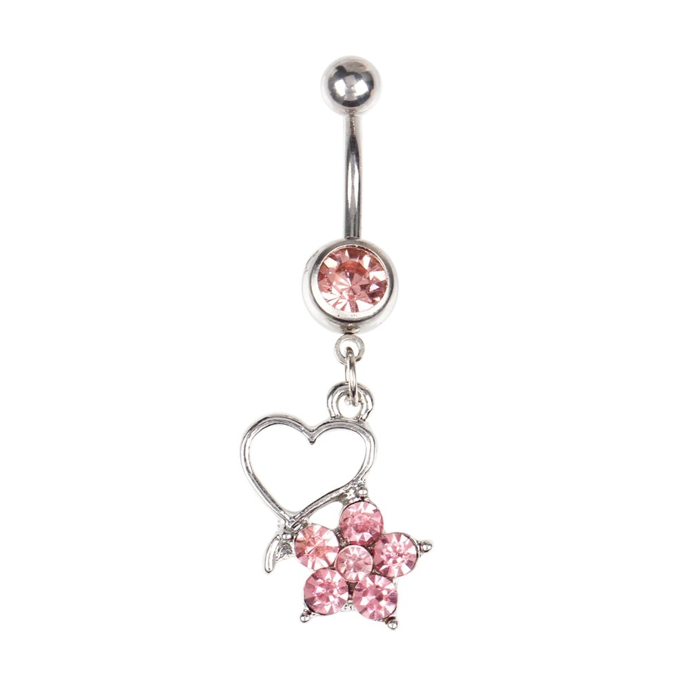 BODYA 14G Stainless Steel Pink CZ Belly Button Rings Heart Flower Dangle Navel Piercing Bar Gift