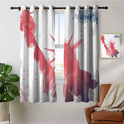 petpany Living Room Curtains 4th of July,Watercolor Lady Liberty Silhouette with Paint Splashes Independence,Dark Coral Pale Blue,Adjustable Tie Up Shade Rod Pocket Curtain 52