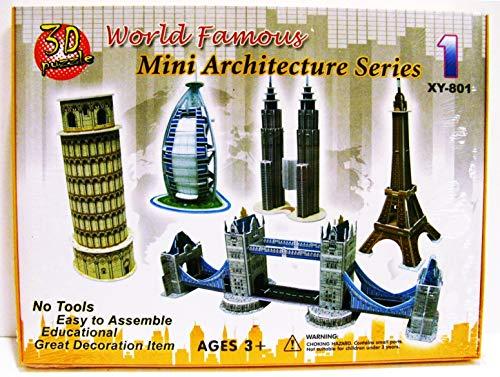 Unbranded The Best 3D Puzzle World Famous Mini Architecture Series Pisa/Eiffel/Petronas/Burj New for Ages ()