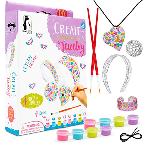 (Koltose by Mash Kids DIY Caft Kit for Girls, Paint Suncatcher Kits for Kids Crafts, Includes DIY Headband, Bracelet, 2 Necklace Pendants, Paints, and Brushes, Arts and Crafts Kit for Girls Crafts)