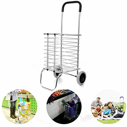 Edxtech Two Wheel Aluminum Folding Portable Shopping Market Grocery Basket Cart Trolley