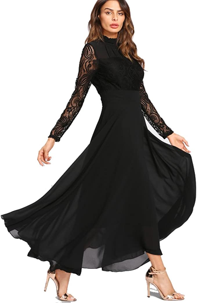 Amazon Com Roiii Women S Formal Lace Chiffon Long Sleeve Ruched Neck Long Dress Evening Cocktail Party Wedding Dress Clothing