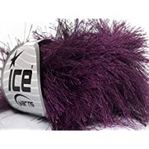 Lot of 8 Skeins ICE YARNS Long Eyelash Dark Purple