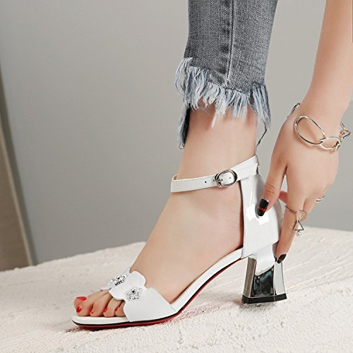 finest selection 0e948 5ac62 Jqdyl High Heels Weibliche Sandalen Fischmaul Thick High Heels Wild 37White