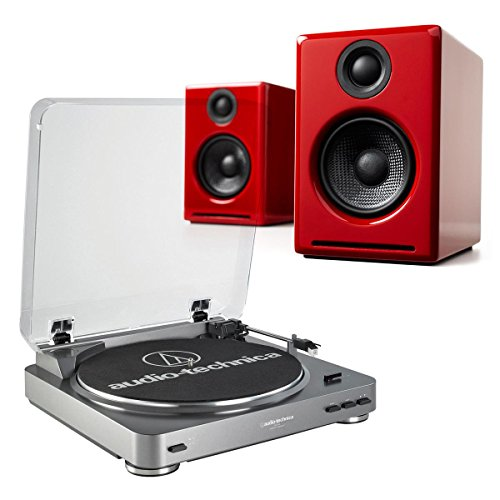AudioTechnica AT-LP60 Fully Automatic Stereo 2-Speed Turntable System (Silver) with Audioengine A2+ Premium Powered Desktop Speakers (Red) by Audio-Technica