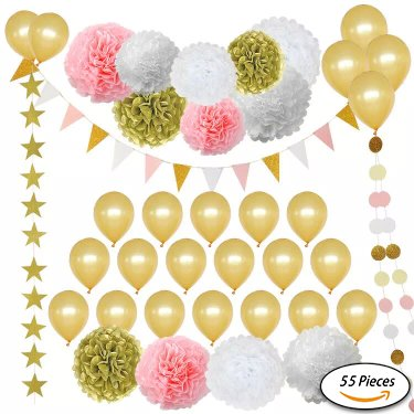 Art & Soul Products Party Decorations 55 Pieces Including Paper Tissue Pompoms, Stars, Garlands, Flags & Balloons Pink, Ivory, Glitter & Gold For Birthday, Baby Shower, Bridal, Weddings & More
