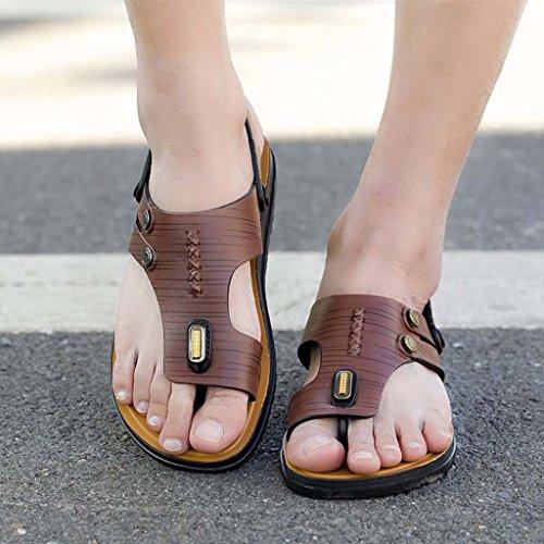 ZXCV Zapatos al aire libre Zapatillas ocasionales de los hombres respirables de las sandalias puras de los hombres Marrón