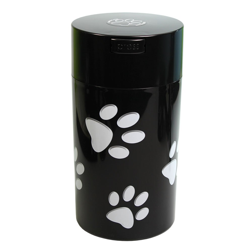 Pawvac 12 Ounce Vacuum Sealed Pet Food Storage Container; Black Cap & Body/White Paws