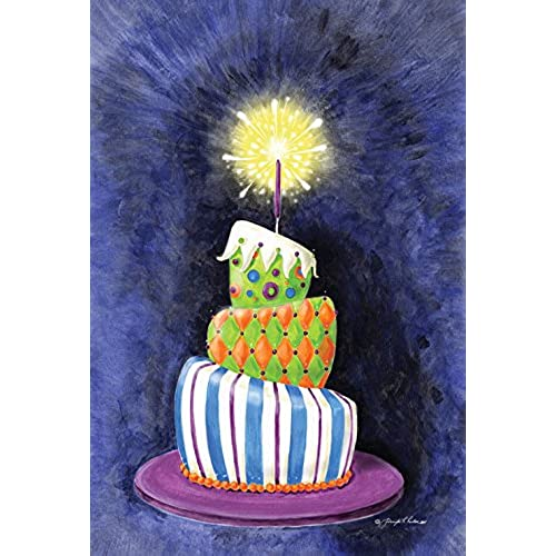 Toland Home Garden Sparkling Birthday Present Cake 28 X 40 Inch Decorative Party House Flag