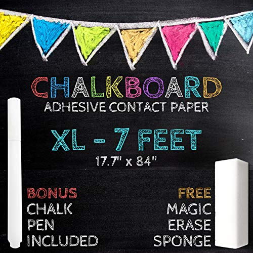 Chalkboard Drawings Halloween (XL Black Chalkboard Contact Paper - 7 FEET (17.7