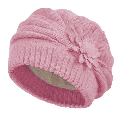 - Janey&Rubbins Women's Winter Hat French Beret Solid Floral Decoration Knit Beanie Cap (Fuchsia)