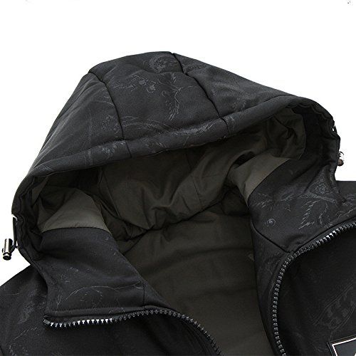 Cappotto Grandi Colore Solido Dyf Zip Giacche Tasca Nero Ispessite Cappello Fym Formato Piumino UExa6q