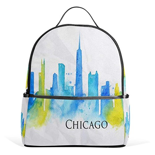 Funny Print Rucksack Canvas Satchel Casual Daypack Backpack,USA Chicago Landmark