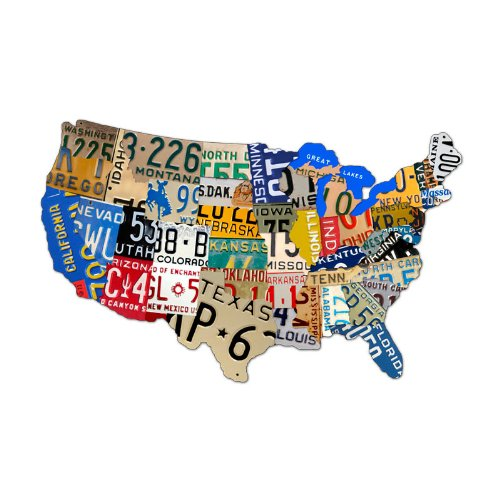 (Past Time Signs (PS044) License Plate USA Map Die-Cut Steel Sign 25