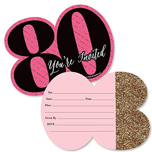 Chic 80th Birthday - Pink, Black and Gold - Shaped Fill-in Invitations - Birthday Party Invitation Cards with Envelopes - Set of 12 for $<!--$13.99-->