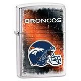 Zippo NFL Broncos Lighter, Silver, 5 1/2 x 3 1/2cm