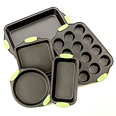 Bakeware Set -Premium Nonstick Baking Pans -Set of 5- ligh Blue Silicone Handles includes a Pie Pan, a Square Cake Pan, Baking Pan, a Bread Pan, Cupcake Pan.