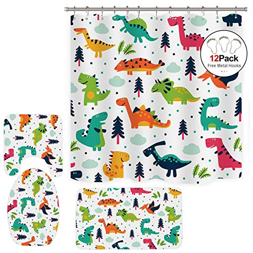 (Dinosaurs Shower Curtain+Colorful Free Metal Hooks 12-Pack+3 Pieces Bathroom Set Dino Cartoon Kids Jurassic Decor Fabric Polyester 72x72 Inch Bath Contour Mat Toilet Lid Cover U Shaped Non-Slip)