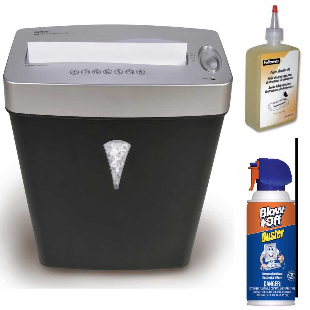Royal 6-Sheet MicroCut Shredder with Lift-Off Basket + Shred Lubricant Oil + Blow Off Air Duster Cleaner Bundle