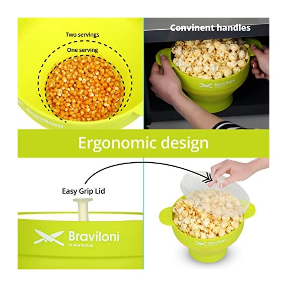 Popcorn Maker 5 ♨ DELICIOUSNESS IN MINUTES: The Braviloni microwave popcorn popper with lid whips up to 14 cups of popcorn in under 4 minutes; all without having to deal with the slowness of a stove top popcorn maker, the noisiness of electric hot air poppers, or the potentially harmful lining of microwavable popcorn bags. ♨ EASY TO USE: Simply add kernels to the quick pop maker, add seasoning, and place in the microwave. This is one of the most convenient popcorn poppers for home use thanks to the cool-touch handles for comfortable handling and graduated markings on the inner side of the bowl. ♨ COMPLETELY TOXIN FREE: Made using 100% FDA-approved food-grade silicone that is completely BPA-free, this is the best popcorn popper for making a healthy treat that the entire family will love. You can opt to use oil or skip on it entirely, making it perfect for those looking for popcorn poppers that use oil or poppers that can do without.