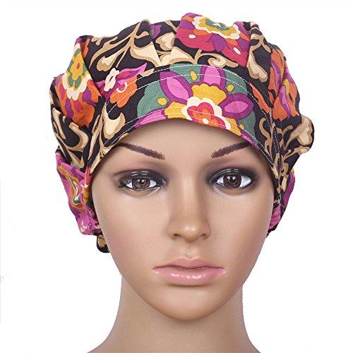 Doctor Classic Scrub Hat Adjustable Sweatband Bouffant Cap for Women Ponytail (Print (Scrub Hat)
