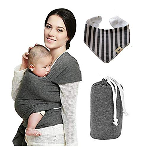 Baby Wrap Carrier Hands Free - Breathable Soft & Stretchy Baby Sling Carrier, Safe & Secure for Babies, Infants & Toddlers, No Back Pain, Great Baby Shower Gift, Babywearing, Free Bib. (Classic Gray)