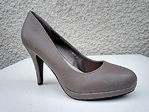 Escarpin talon aiguille haut a plateforme femme chaussure cuir simili FY8012