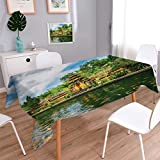 Anmaseven Balinese Oblong Patterned Tablecloth Tirta Empul Temple Bali Indonesia Exotic Trees Oriental Building Fish Lake Photo Dust-proof Oblong Tablecloth Green Yellow Size: W70 x L120