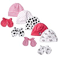Gerber Baby Newborn 5 Pack Caps and 4 Pack Mitten Bundle Love for Girls, Pink...