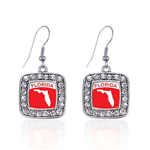 Inspired Silver Florida Outline Classic Charm Earrings Square French Hook Clear Crystal Rhinestones