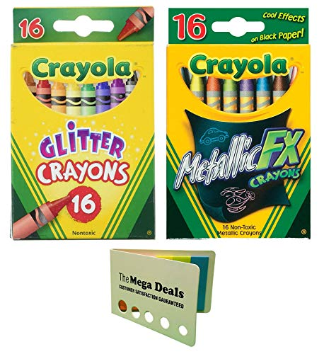 Crayola Glitter Crayons, 16 Count | Crayola Metallic FX Crayons, 16 Count | Includes 5 Color Flag Set | Great Creative Coloring -