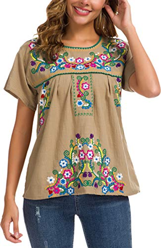 YZXDORWJ Women's Embroidered Mexican Peasant Blouse (XL, 169HL-GR)