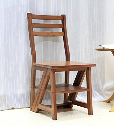LIXIONG Chaise Pliante Échelles Multifonctions Usage Double Échelle en Trois étapes, Bambou, 2 Couleurs tabourets de bibliothèque (Couleur : Brun rougeâtre)