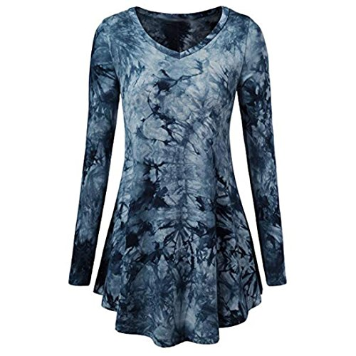 ❤️ Clearance Long Sleeved Plus Size Top Women Scoop Neck Pleated Long Sleeves Plus Size Blouse Top Tunic Shirt Printed Round Neck Long T-Shirt Duseedik ()