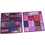 """Ethnic Purple Cushion Cover Patchwork Embroidered Cotton Square Pillow Cases 16"""" x 16"""""""