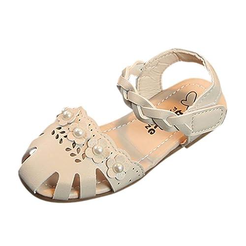 552ce4ec3a894 OHQ Chaussures de Princesse Fille Tissent des Fleurs Creuses Plage Romaine  Beige Blanc Rose enfant en